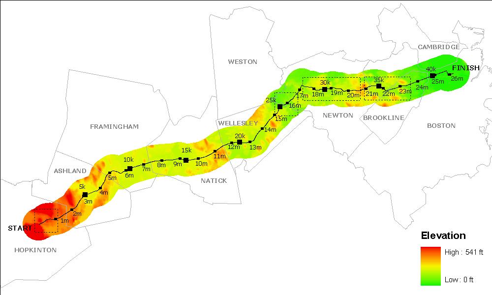 map of boston marathon route. map of oston marathon route.
